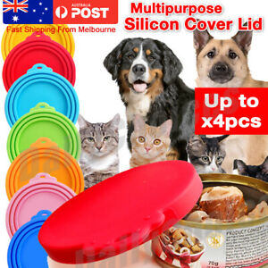 1 2 4 x Pet Food Can Cover Lid Dog Cat Pet Tin Silicone Reusable Storage Cap Top