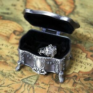 Silver Plated Lord of the Rings Nenya Galadriel 's Flower Ring + Jewelry Box Set
