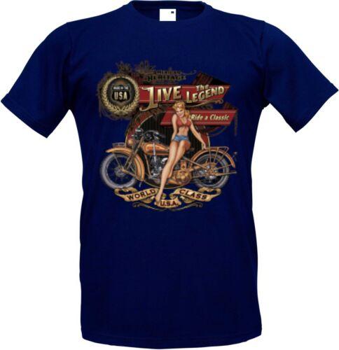 /& Old schoolmotiv modèle Heritage Chopper T shirt dans navyblau avec un motard-