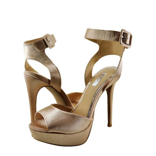 NEUF * Femme Chaussures qupid Avalon 187 Bout Ouvert Bride Cheville Talon rose poudré satin