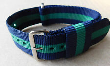 20mm NYLON NATO STRAP FOR WATCH( BLUE/GREEN/ BLUE)