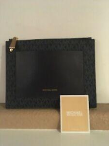 premium selection ab2e2 27033 Details about Michael Kors Navy/Black Signature Sleeve/Tech Case Pouch Gold  Hardware 9.5