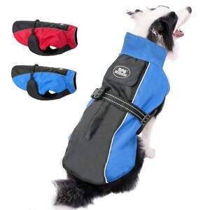 Extra-Large-Dog-Coats-Jacket-Clothes-Waterproof-Doggie-Harness-Raincoat-Blue-Red