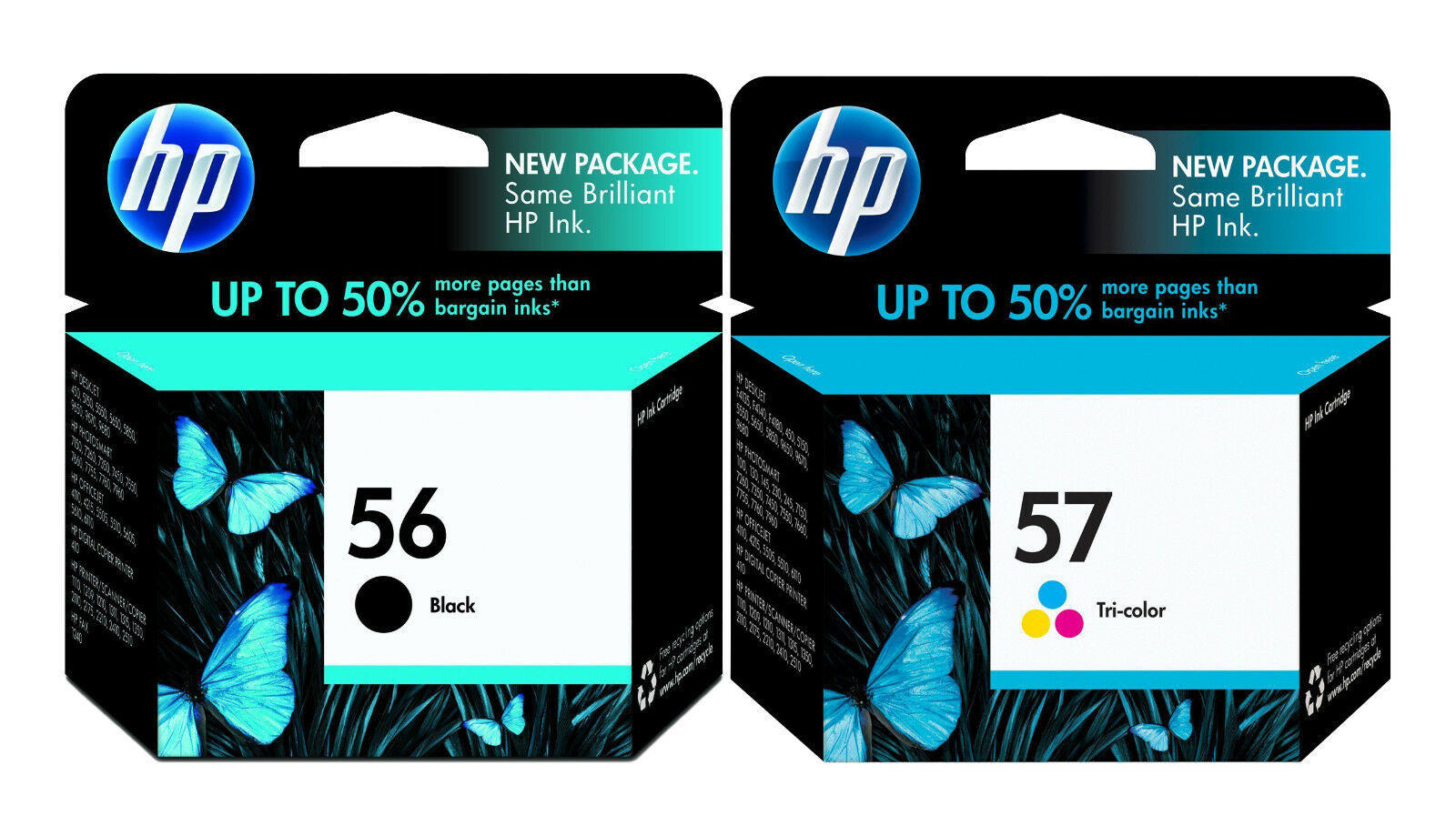 genuine new hp 56 57 c6656an c6657an ink cartridge 2 pack. Black Bedroom Furniture Sets. Home Design Ideas