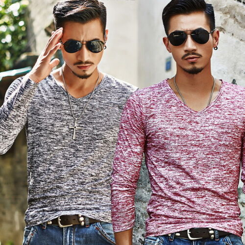 Men/'s V Neck Long Sleeve Slim Fit T-shirt Casual Tee Muscle Blouse Tops  D//S
