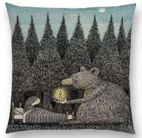 Tales Fantasy House Pattern Cushion Cover Pillow Case Cotton Linen Square Room