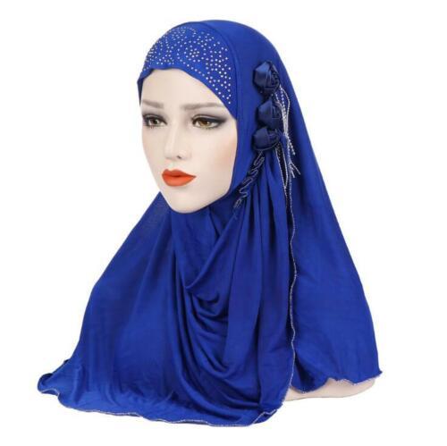 Islamic Amira Headpiece Shawl Headband Ramadan Woman Muslim Floral Headscarf New