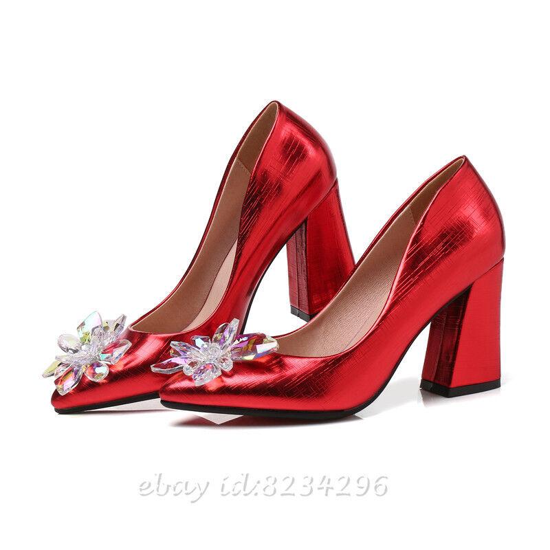 Strass Pumps Braut Damen Hochzeit Schuhe Spitz Damens Braut Pumps Blockabsatz Schuhe 33-47/48 37fed7