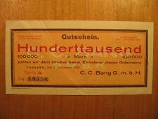 Notgeld Schein Gutschein C.C.Bang Laasphe Hunderttausend Mark Firmengeld