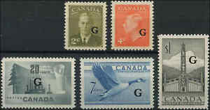 Mint-Canada-2c-1-5-1951-53-VF-Scott-O28-32-Overprinted-Stamps-Never-Hinged