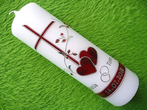 Hochzeitskerze Jubiläumskerze rot