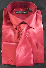 Small 14-14.5 32 Mens Red Satin French Cuff Dress Shirt w Tie & Pocket Hankie