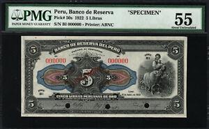 PERU-1922-5-LIBRAS-PMG-AU55-SPECIMEN-P50S-SERIES-B1