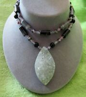 Chunky Druzy Drusy Gray Agate Sterling Silver Toggle Clasp Pendant 18 Necklace