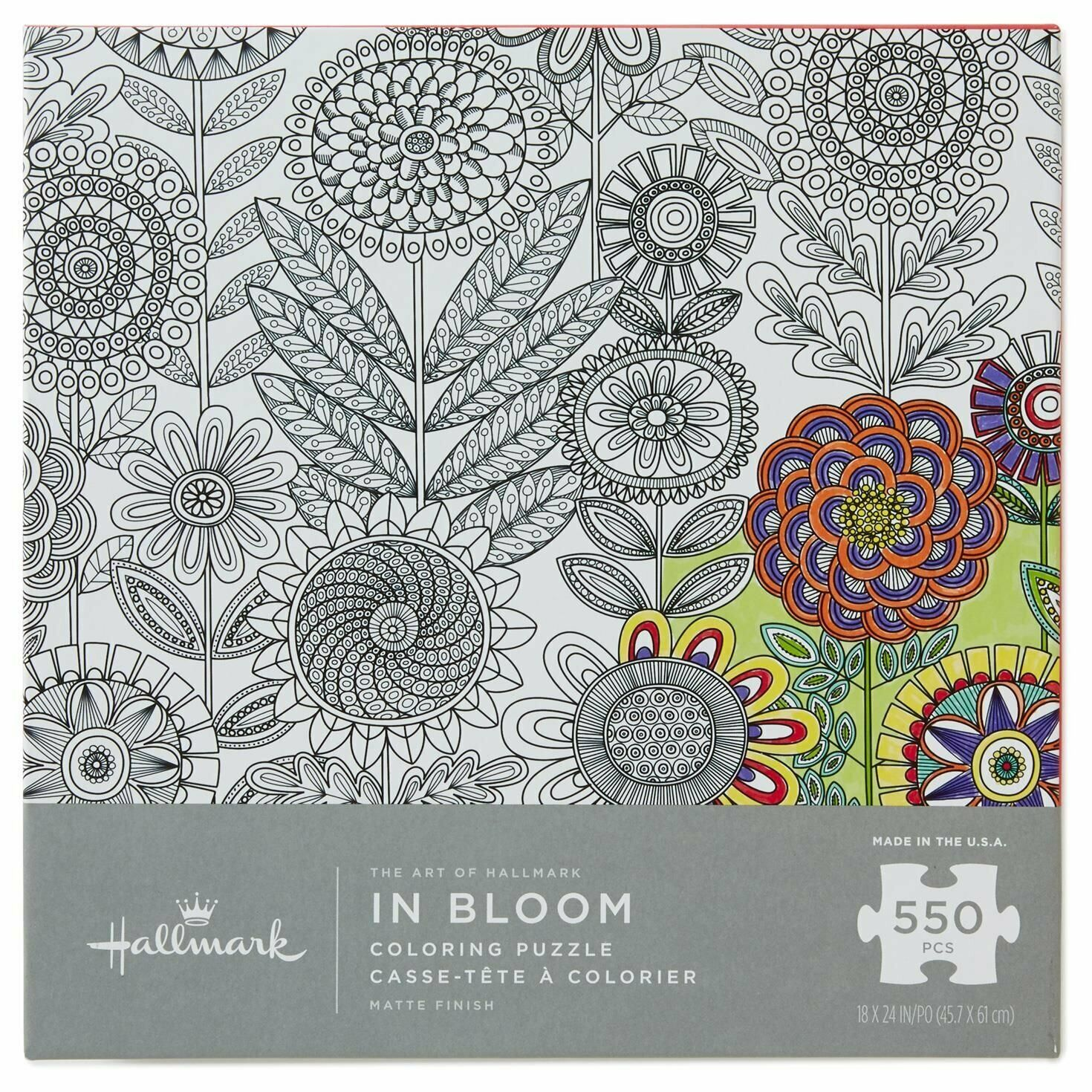 In Bloom Color Your Own Hallmark Puzzle Flowers Mandala Game Night