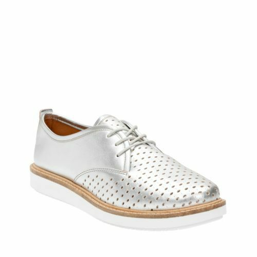 CLARKS  Glick Resseta Silber Leather   Lace-up Flat schuhe UK 6 6.5