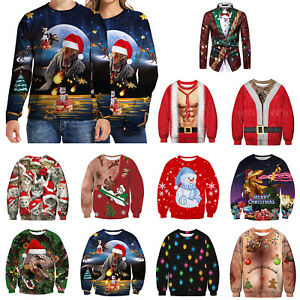 Christmas-3D-Ugly-Sweater-Pullover-Women-Men-Jumper-Party-Sweatshirt-Blouse-Tops