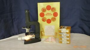 Vintage-Gilbert-Microcraft-Microscope-Storage-Cabinet-and-Slides-Collectible
