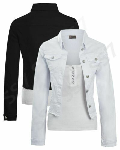 Womens Size 14 12 10 8 6 Stretch Fitted Denim Jacket Jean Jackets Black White