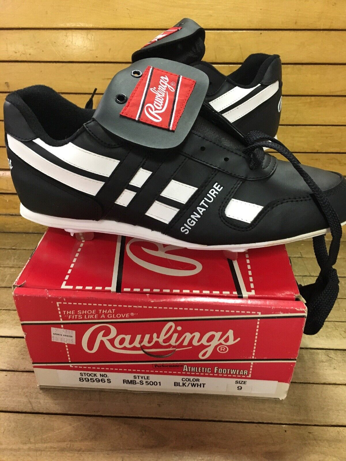 Vintage 80s 90s Rawlings Baseball Cleat schuhe Größe 9 Rare Signature Cleat