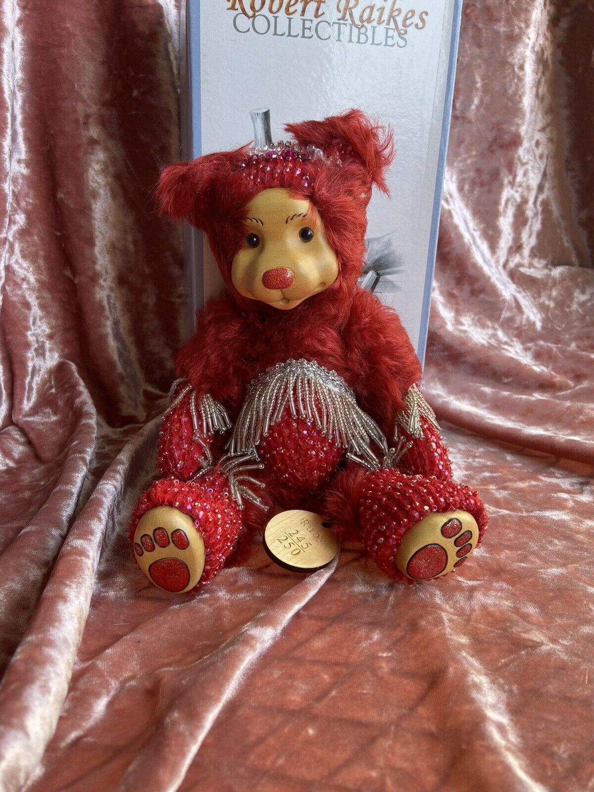 New Robert Raikes Ruby July Birthday Bear 2001 LE 250