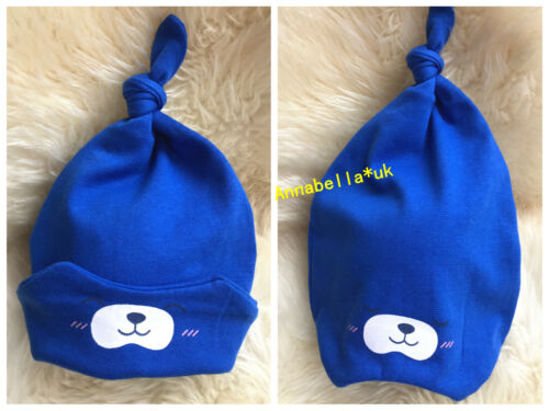 Baby Girl Boy Hat Cap Beanie 2 Sided Cute Plain Knotted Knitted Cotton UK0-18M