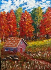 ACEO Original fall colors at the little homestead by artistnelson