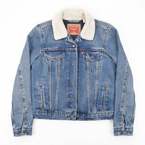 Vintage-LEVI-039-S-Blue-Padded-Casual-Fitted-Denim-Jacket-Womens-Size-Small