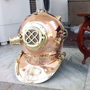 Methodical Solid Brass Copper Diving Divers Helmet U N Navy Full Size Royal Vintage Gift Maritime Antiques