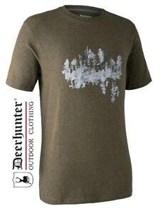 Deerhunter-Cedar-Cotton-T-Shirt-8327-Green-Melange-All-Sizes-Outdoor-Wear-Ceder