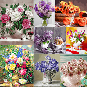 Flowers DIY Paint By Numbers Kit Digital Oil Painting Artwork Wall Home Decor