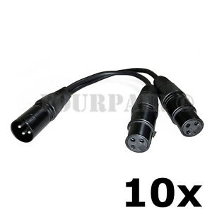 3 Pack Lot 3-Pin XLR Male to Dual 2 Female Y Splitter Mic Cable Adaptor 16 AWG