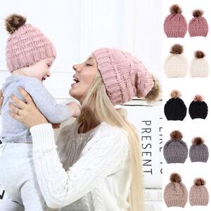 2Pcs Mother   Child Baby Warm Winter Knit Beanie Fur Pom Pom Hat ... 97bd1c54c9ad