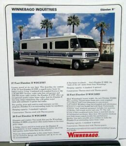 1978 Winnebago Elandan Ii Motor Home Rv Dealer Sales Data Sheet Camper Features Ebay