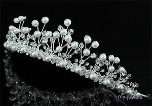 Hochzeit Perle Diadem Benutzen Swarovski Kristall T1427 Ebay