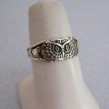 Taxco Silver Good Luck OWL Elephant Evil Eye Horse Shoe 4 Leaf Clover Ring 9.5