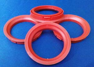 (FZ44) 4x Zentrierringe 73,0 / 57,1 mm rot für Alufelgen