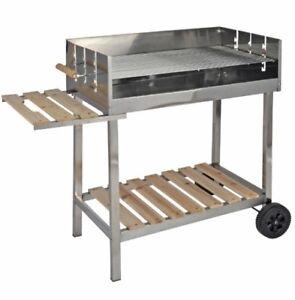GRILL-IN-ACCIAIO-INOX-XXL-Carrello-Grill-Carbone-Barbecue-BBQ-CARBONELLA-GRILL-MOBILE-BARBECUE