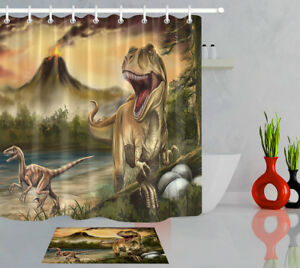 Image Is Loading Dinosaur Eggs Volcano Scenery Fabric Shower Curtain Hooks