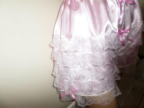 Baby Rosa in Raso Bianco Pizzo Frilly Ruffle Cami Stile Slip Vita 30-46
