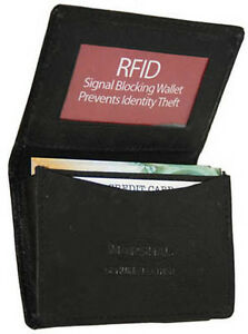Black-RFID-Blocking-Leather-Gusseted-Wallet-Credit-Card-ID-Business-Holder-New