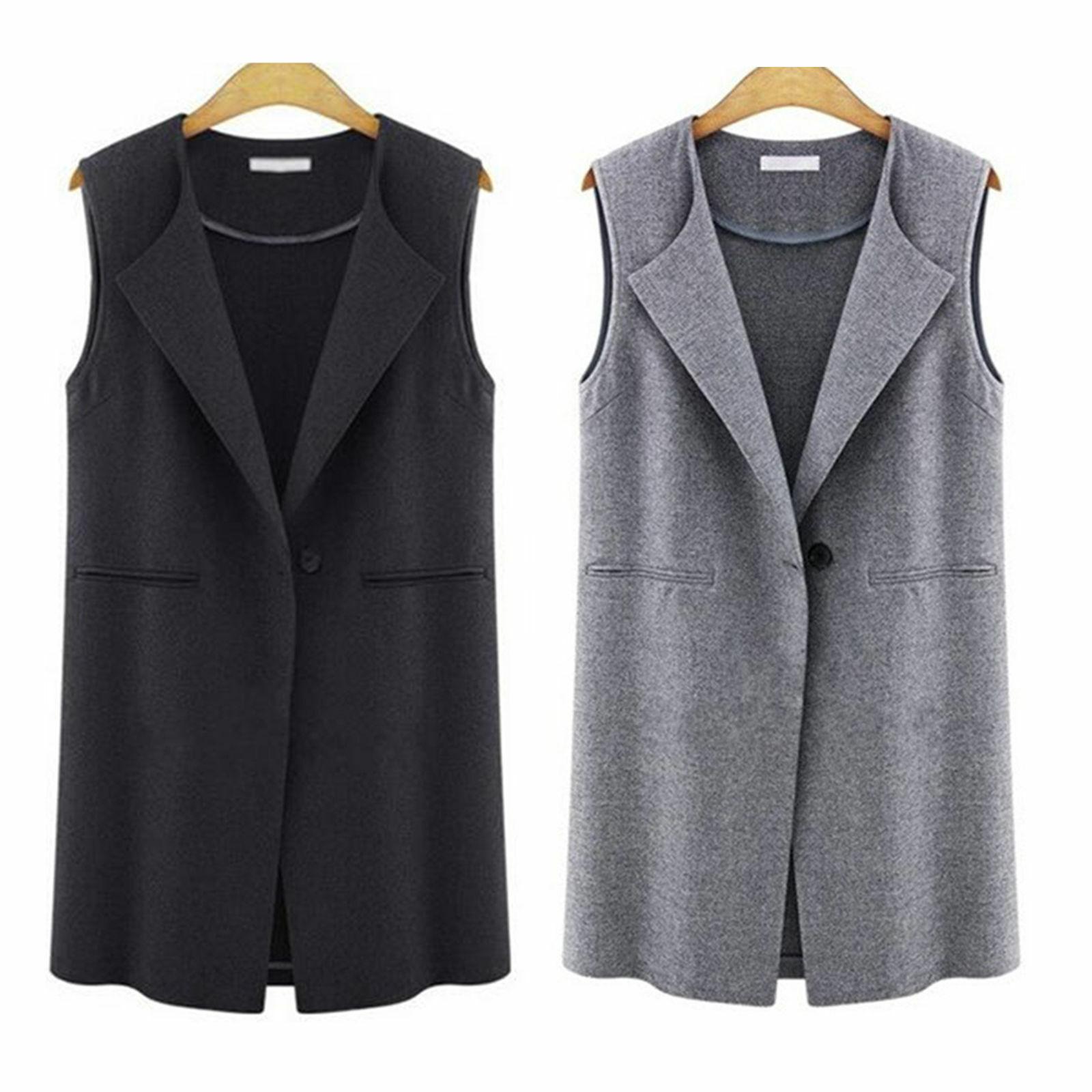 Womens Casual Waistcoat Vest Sleeveless Lapel Cardigan Jacke