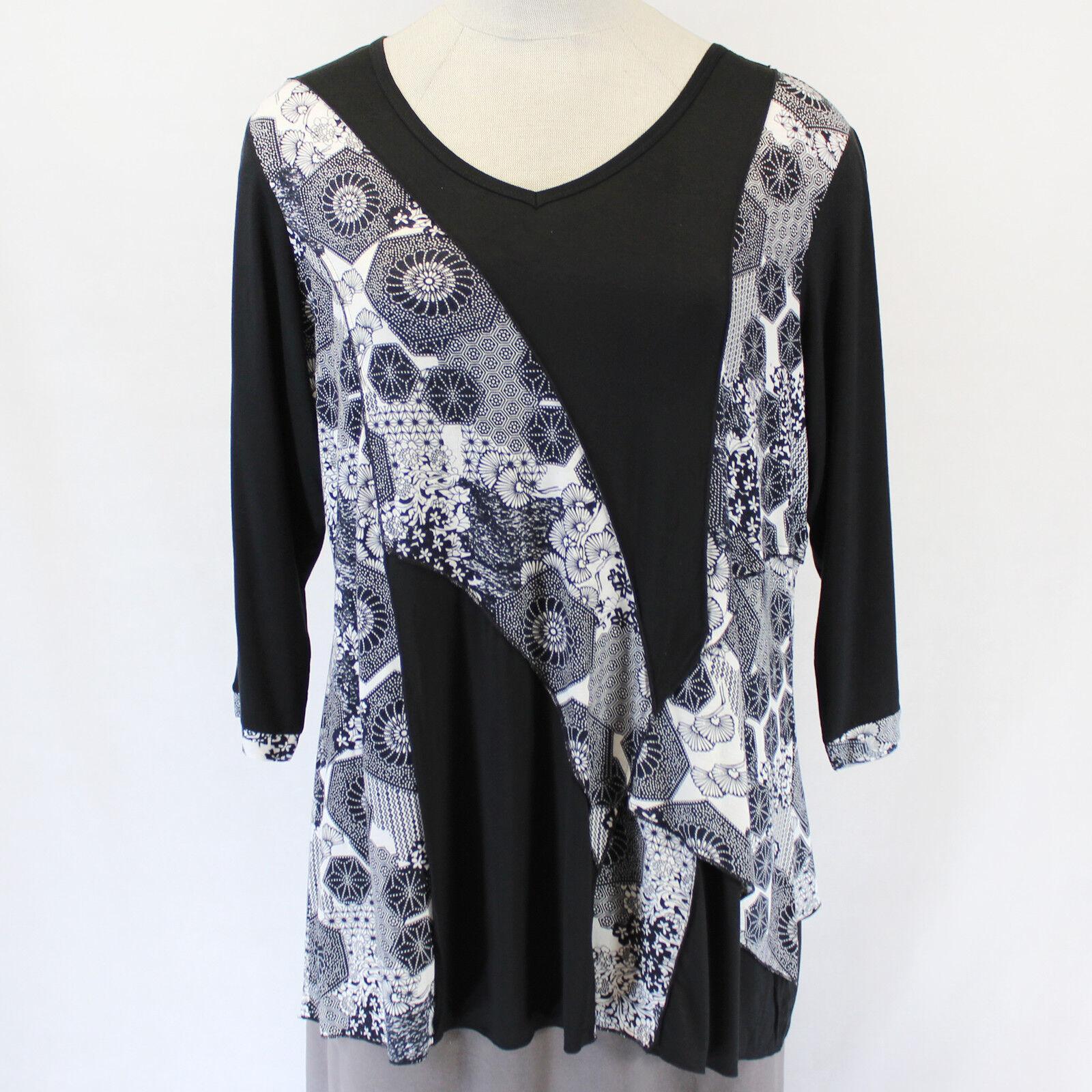 Parsley & Sage Plus Größe Amelia Tunic Floral Print V-Neck Blouse Top 3X