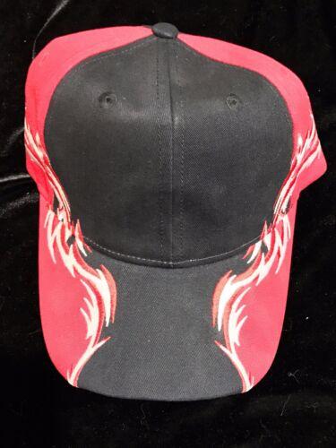 Port Authority Baseball Cap C859 Men/'s BLACK//RED//WHT Racing Cap with Flames