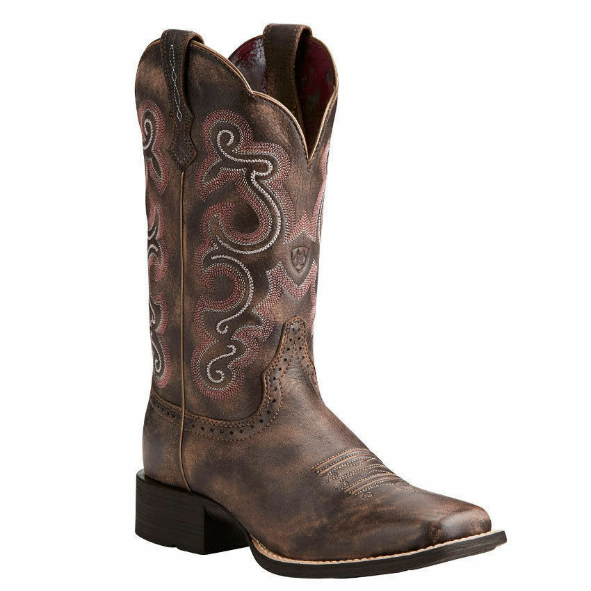 Ariat Women's Chocolate Brown Quickdraw Square Toe Western Boots 10021616