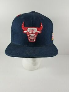 Chicago Bulls Mitchell & Ness Hat Red White Blue Snapback Adjustable Denim Navy