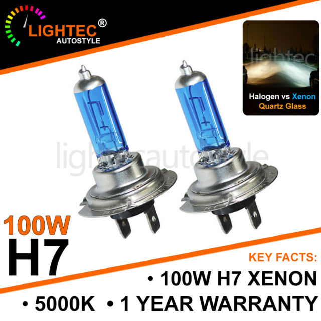 H7 55w 5000k Xenon Hid Super White Effect Look Headlight Lamps Light Bulbs T10