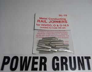 PECO-SL-10-HO-OO-O-amp-O-16-5-METAL-RAIL-JOINERS-Power-Grunt-Hobbies
