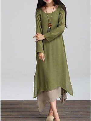 Autumn Women Lady Boho Dress Plus Size Loose Cotton Linen Clothing Long Tops Hot