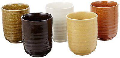 Yunomi Japanese Tea Cup Bowl set Mino yaki PotteryHandpaint Tokusa Stripe Japan